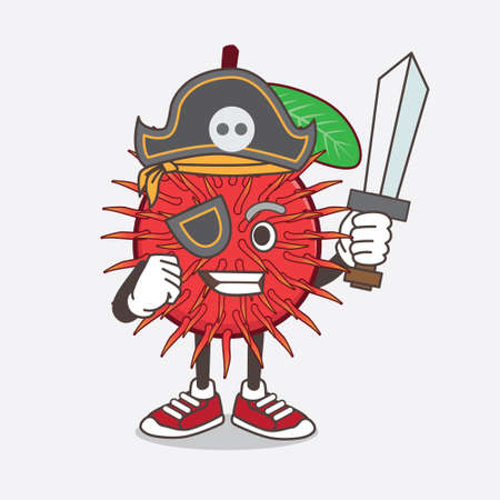 An illustration of Rambutan Fruit cartoon mascot character in pirate style and wearing hat and sword