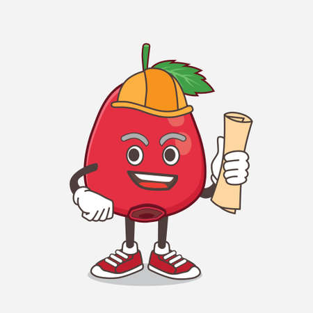 An illustration of Rose Hip Fruit architect cartoon mascot character having blueprints and yellow helmet