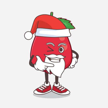 An illustration of Rose Hip Fruit cartoon santa mascot character with smiling face