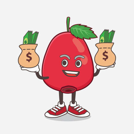 An illustration of Rose Hip Fruit cartoon mascot character with money on hands