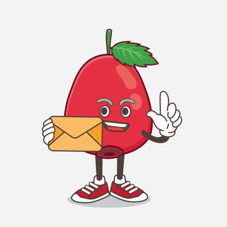 An illustration of Rose Hip Fruit cartoon mascot character holding an envelope Illustration