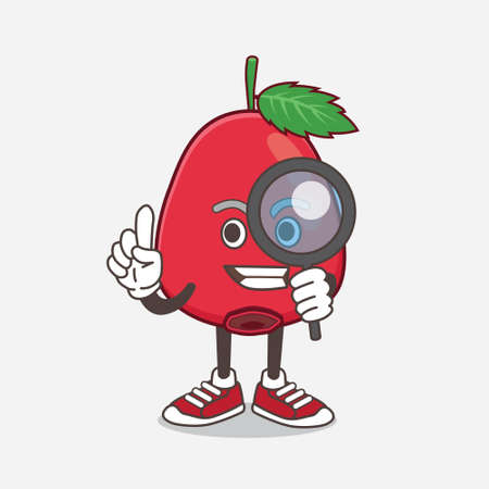 An illustration of Rose Hip Fruit cartoon mascot character as Detective design