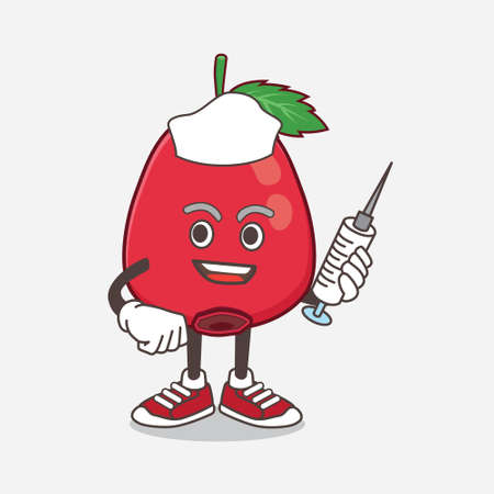 An illustration of Rose Hip Fruit cartoon mascot character as nurse with medical syringe