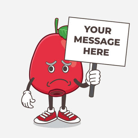 An illustration of Rose Hip Fruit cartoon mascot character with cheerless face and holding a message board Illustration