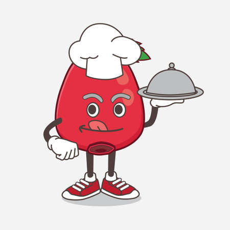 An illustration of Rose Hip Fruit cartoon mascot character as a Chef with food on tray ready to serve