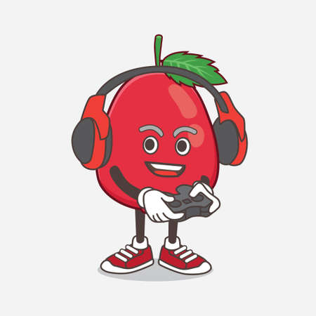 An illustration of Rose Hip Fruit cartoon mascot character play a game with headphone and controller