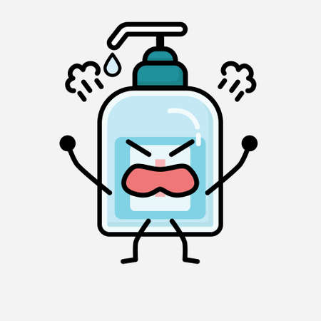 An illustration of Cute Hand Sanitizer Mascot Vector Character in Flat Design Style