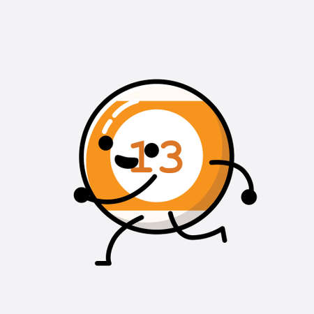 An illustration of Cute Billiard Ball Mascot Vector Character in Flat Design Style