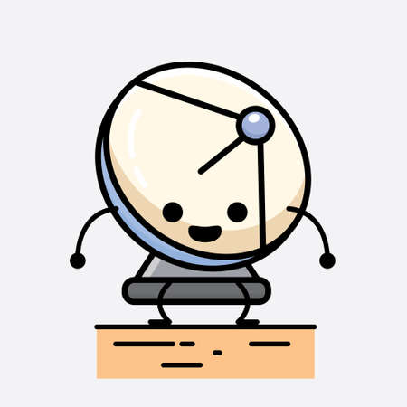 An illustration of Cute Parabolic Antenna Mascot Vector Character in Flat Design Style Illustration