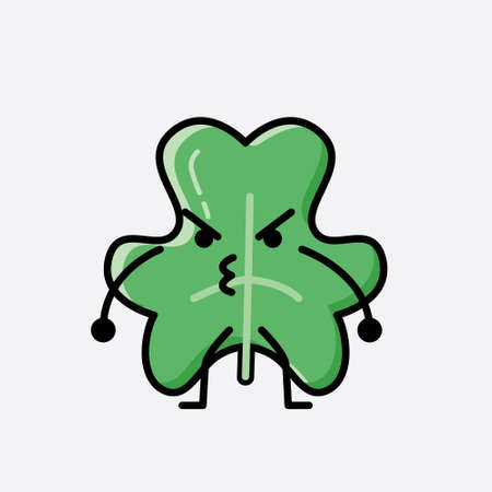 An illustration of Cute Clover Leaf Mascot Vector Character in Flat Design Style