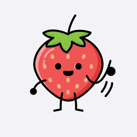 An illustration of Cute Strawberry Mascot Vector Character