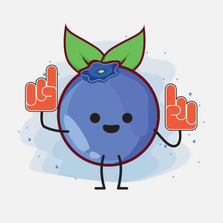 An illustration of cute blueberry fruit vector character