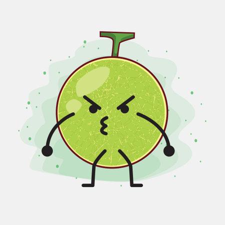 An illustration of Cute Cantaloupe Melon Vector Character