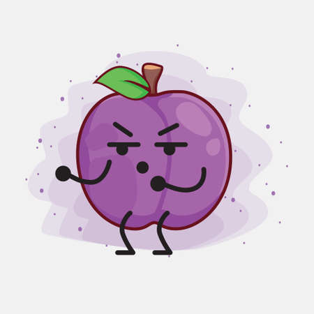 Vector Illustration of Plum Fruit Character with cute face, simple hands and leg line art on Isolated Background. Flat cartoon doodle style.