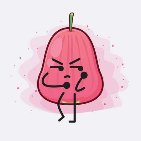 Vector Illustration of Java Apple Fruit Character with cute face, simple hands and leg line art on Isolated Background. Flat cartoon doodle style.