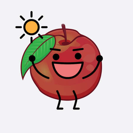 Vector Illustration of Nectarine Fruit Character with cute face, simple hands and leg line art on Isolated Background. Flat cartoon doodle style.