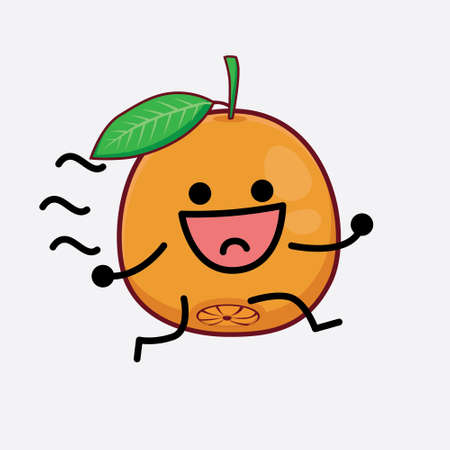 Vector Illustration of Navel Orange Character with cute face, simple hands and leg line art on Isolated Background. Flat cartoon doodle style.