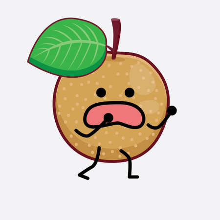 Vector Illustration of Nashi Pear Fruit Character with cute face, simple hands and leg line art on Isolated Background. Flat cartoon doodle style.