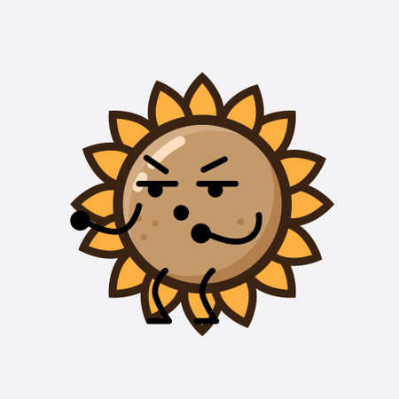 Vector Illustration of Sunflower Character with cute face, simple hands and leg line art on Isolated Background. Flat cartoon doodle style.