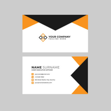 Professional two sided business card vector template with logo place holder, name, address, phone number, website and email