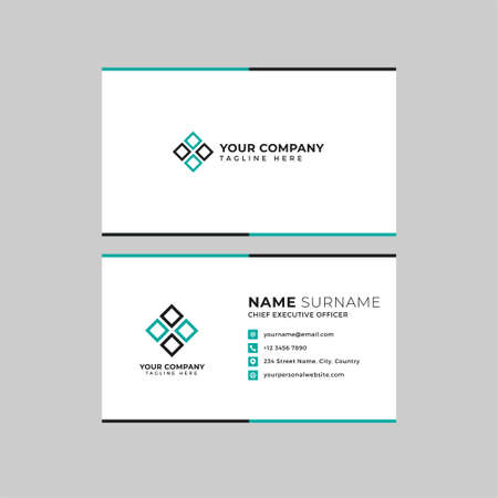 Professional two sided business card vector template with logo place holder, name, address, phone number, website and email Logos