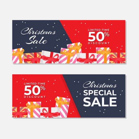 Red Christmas Sale Banner Vector Template