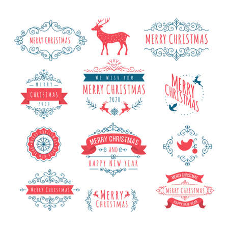 Christmas and New Year Decoration Ornament with Greetings Vector