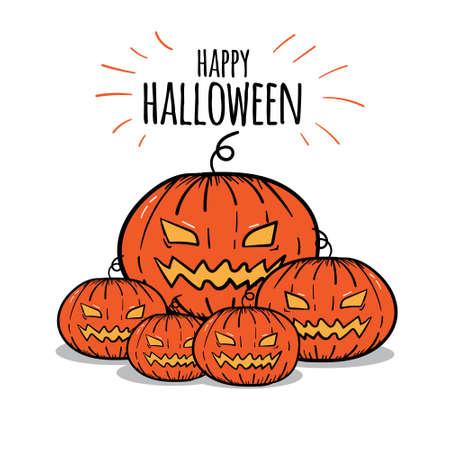 Hand Drawn Halloween Pumpkin Jack o Lantern Vector Poster Illustration