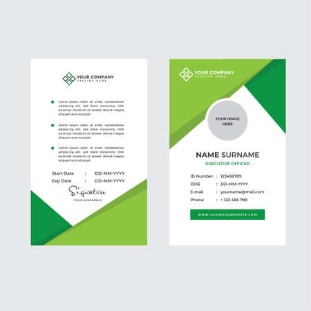 Premium Employee ID Card with Photo Placeholder, Name, Position and Company Profile Template Vector