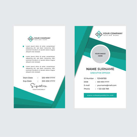 Premium Employee ID Card with Photo Placeholder, Name, Position and Company Profile Template Vector Ilustración de vector