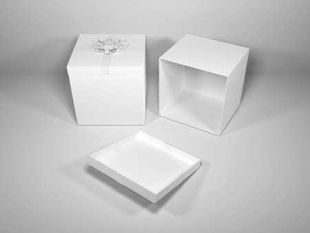 Gift Box Packaging 3D Illustration Mockup Scene on Isolated Background
