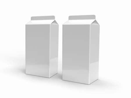 Milk Box Packaging 3D Illustration Mockup Scene on Isolated Background