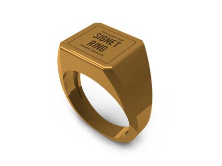 Signet Ring 3D Illustration Mockup Scene on Isolated Background