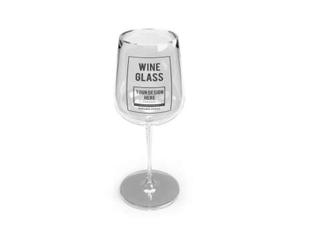 Wine Glass 3D Illustration Mockup Scene on Isolated Background