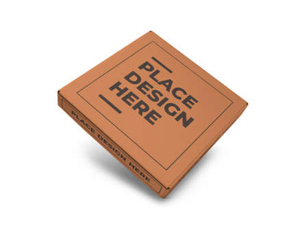Pizza Box Packaging 3D Illustration Mockup Scene on Isolated Background