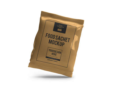 Food Sachet Packaging 3D Illustration Mockup Scene on Isolated Background