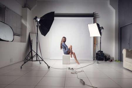 photo session in the studio with a beautiful young girl