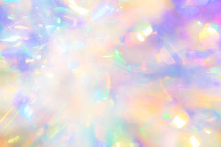 Abstract peaceful zen magical fairy tale background texture of gentle delicate candy colored glow and sparkling iridescent pastel bokeh light reflections Banco de Imagens