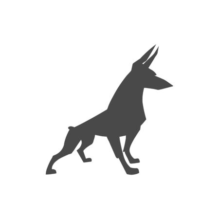 breed: dog breed of Doberman pinscher, silhouette Illustration