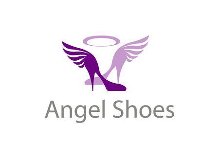 shoe store: Shoe store logo for angel girls Illustration