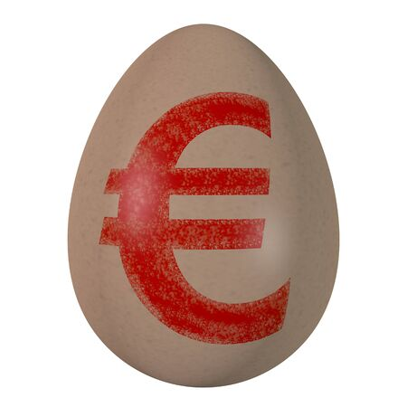 Egg isolated on a white background, with the sign on euro drawn on it.