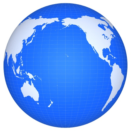 south east: The globe of Pacific ocean isolated on a white background. Continents and meridians are represented conditionally and arent exact geographical.