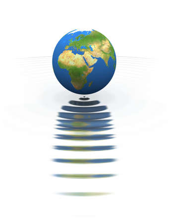 Globe on the water, reflected in waves. The conceptual 3d composition is isolated on the white.