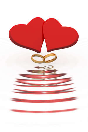 the enamoured: Hearts of the enamoured are reflected in waves.