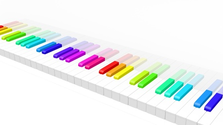 abstract 3d illustration of colorful piano keyboard over white background. Fun rainbow colored piano keyboard. Stock Illustration - 9375202