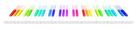 abstract 3d illustration of colorful piano keyboard over white background. Fun rainbow colored piano keyboard.  Stock Illustration - 9375200