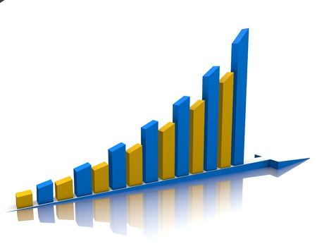 stock illustration: Week buisness graph is reflected on the white.