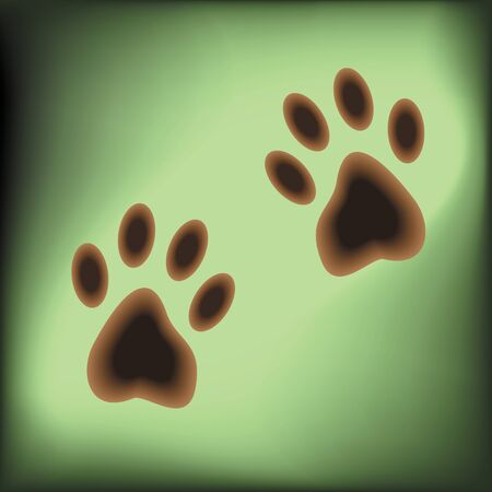 Traces of paws of an animal left on a green field. Vector