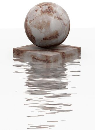 beveled: Marble sphere is reflected over water Stock Photo