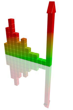 Business bar graph. High quality 3d render. photo